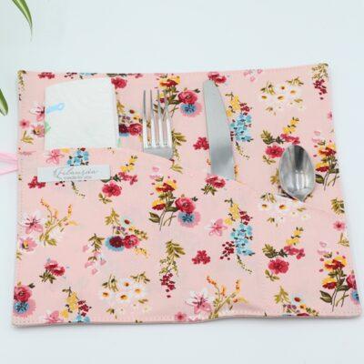 Pochette Range-Couverts Flowery Rose Détails